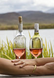 Holding hands &drinking wine. Two hands with a wine glasses and bottles on a scenic background Stock Photos