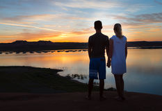 Holding Hands at Dusk Royalty Free Stock Photos