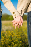 Holding hands on the field. Beautiful couple holding hands on the field Royalty Free Stock Photos