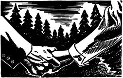 Holding Hands In Forest Stock Photo