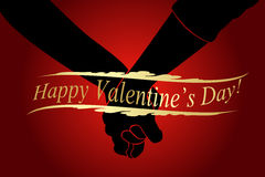 Holding Hands Happy Valentine's Day Card Royalty Free Stock Images