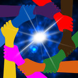 Holding Hands Means Globally Globalize And Globe. Holding Hands Showing Union Friendship And Earth vector illustration