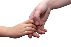 Is holding hands, mother and son. Clasped hands child and woman on a white background Royalty Free Stock Photography