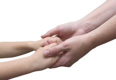 Is holding hands, mother and son. Clasped hands child and woman on a white background Royalty Free Stock Images