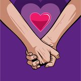 Holding hands with red heart. Concept of supporting, vector illustration. Holding hands with red heart. Concept of supporting, vector illustration royalty free illustration