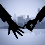 Holding Hands Represents Find Love And Affection. Holding Hands Indicating Find Love And Loving Royalty Free Stock Images