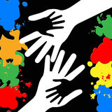Holding Hands Represents Paint Colors And Bonding Royalty Free Stock Photo