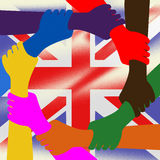 Holding Hands Represents Union Jack And British Royalty Free Stock Photography