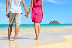 Holding hands romantic newlyweds couple on beach Stock Images