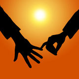 Holding Hands Shows Tenderness Together And Fondness Stock Photos