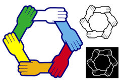 Holding hands to form a hexagon
