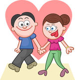 Holding Hands and Walking With Big Love Heart Royalty Free Stock Photography