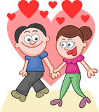 Holding Hands and Walking With Love Hearts Royalty Free Stock Photo