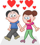 Holding Hands and Walking With Love Hearts Stock Photography