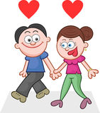 Holding Hands and Walking With Two Love Hearts Stock Photo
