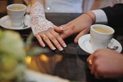 Holding hands of wedding couple with rings Royalty Free Stock Photos