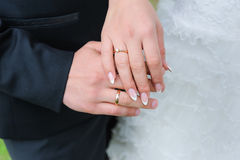 Holding Hands with wedding rings. Close-up a bride and groom covers of each other`s hands with rings.rWedding photograph of a young couple of lovers who are just Stock Image