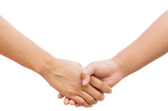 Holding hands on white background. Royalty Free Stock Photography