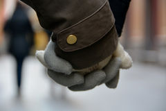 Holding hands in winter Stock Image
