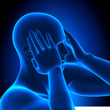 Holding Head Pain Man - 3D illustration Stock Image