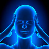 Holding Head Pain Woman - 3D illustration Royalty Free Stock Photos