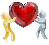Holding heart love symbol. Illustration of two people mascots holding a big heart Stock Photo