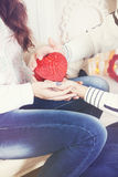 Holding a heart-shaped box,tinted Royalty Free Stock Photography