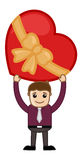 Holding a Heart Shaped Gift Box Over the Head Royalty Free Stock Image