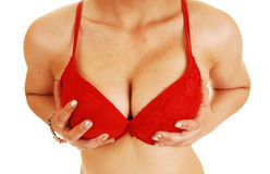 Holding her breasts Royalty Free Stock Image