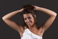 Holding her hair Royalty Free Stock Photos