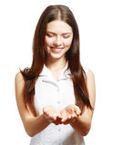Holding her hand showing something Stock Photo