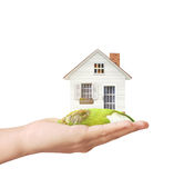 Holding home model. Loan concept stock images