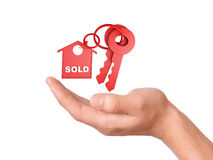 Holding house keys. sold concept Royalty Free Stock Image