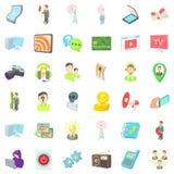 Holding icons set, cartoon style. Holding icons set. Cartoon set of 36 holding vector icons for web isolated on white background Stock Images