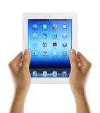 Holding iPad3 In Hands Royalty Free Stock Photos