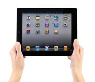 Holding iPad2 In Hands. Woman hands holding Apple iPad2 with homepage on a screen Royalty Free Stock Images