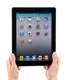 Holding iPad2 In Hands. Woman hands holding Apple iPad2 with homepage on a screen Stock Images