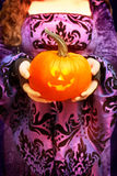 Holding Jack O Lantern royalty free stock photo