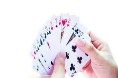 Holding-Karten Stockfotografie