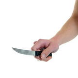 Holding kitchen knife isolated on Stock Images