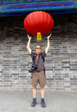 Holding a lantern Royalty Free Stock Photography