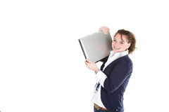 Holding a laptop Royalty Free Stock Photos