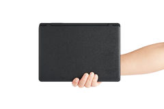 Holding a laptop computer Stock Images