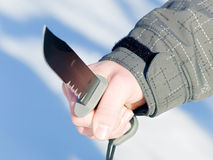 Holding a large knife Stock Photography