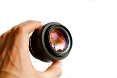 Holding the lens up Stock Images