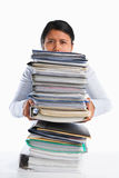 Holding lot of paper Stock Photos
