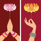 Holding Lotus Banners Royalty Free Stock Image