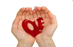 Holding love. Man palms holding letters of love words Stock Photos