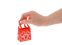 Holding love gift bag Stock Photos