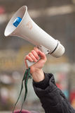 Holding a Megaphone Stock Photo